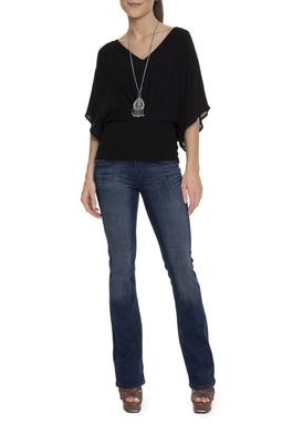 Calça Flare Jeans Escura Com Lavagem - DG15209