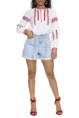 Shorts Jeans Cintura Alta Com Faixa - DG15729