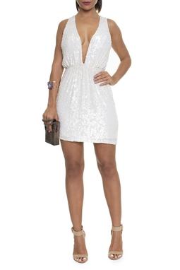 Vestido Curto Paetê Geométrico Off White - DG16222