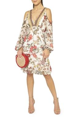 Vestido Seda Floral ML Recorte Ombro - DG15428