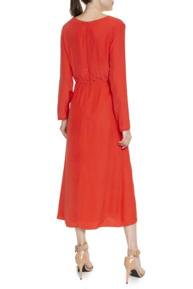 Vestido Manga Longa Seda Escovada Laranja - DG16380 Curadoria Dress & Go