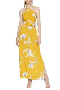 Vestido Midi Estampa Floral Mostarda - DG16426