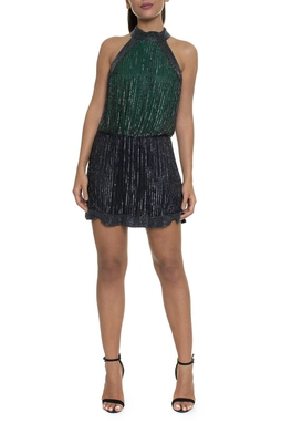 Vestido Curto Gola Alta Verde Bordado Preto - DG16220