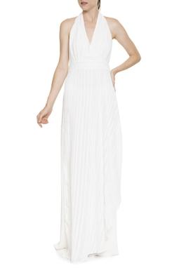 Vestido Longo Seda Frente Única Detalhes Trançados - DG16389