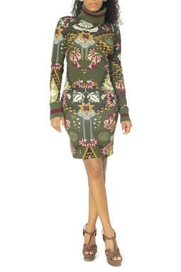 Vestido Estampado Gola Alta Tricot - DG15073