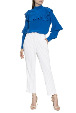Calça Branca Listras Azuis - DG16359