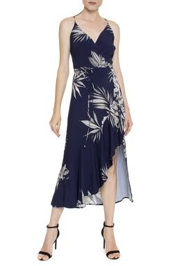 Vestido Midi Babado Estampa Floral Azul Marinho - DG16424