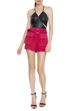 Shorts Suede Cinto Bolsos - DG16348
