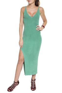Vestido Tricot Verde Decote V - DG15495