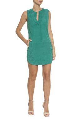 Vestido Regata Couro Suede Verde - DG16406
