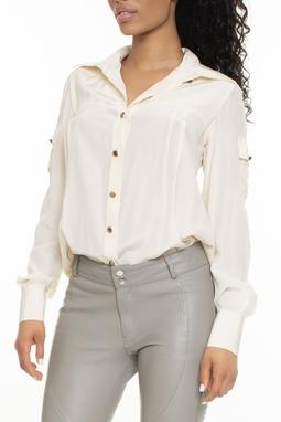 Camisa 100% Seda Off White - DG15171