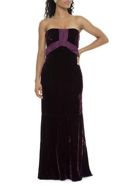 Vestido Longo De Veludo Marsala - DG15682