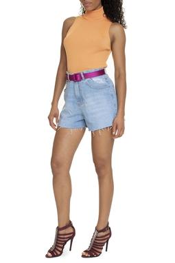 Shorts Jeans Cintura Alta Barra Desfiadaed - DG15728