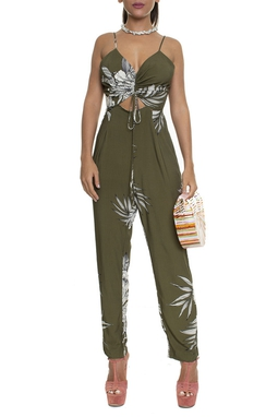 Macacão Franzido Estampa Floral Verde Militar - DG16210