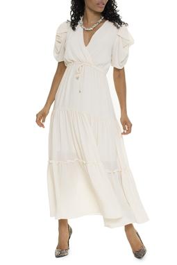 Vestido Manga Bufante Off White - DG15865