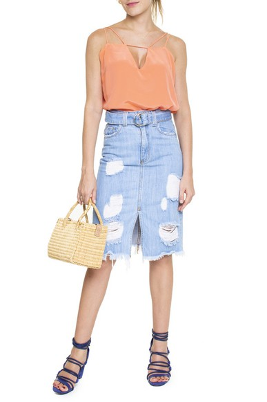 Saia Midi Jeans Fenda - DG15144 Curadoria Dress & Go