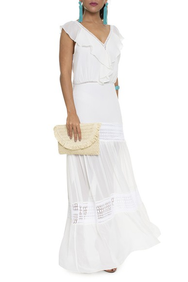 Vestido Off White Decote Babado - DG16193 Animale