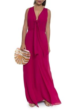 Vestido Decote V Nó Rosa Cherry - DG16192