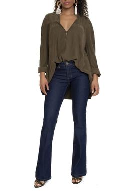 Calça Jeans Escuro Flare Cintura Alta - DG15052