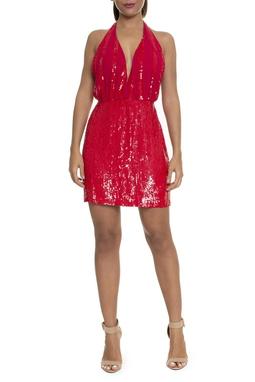 Vestido Curto Paetês Vermelho - DG16224