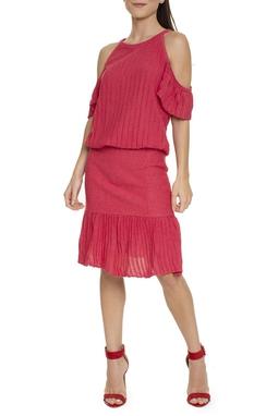 Vestido Vermelho Manga Curta - DG15750