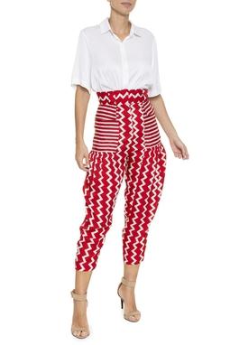 Calça Estampa Vermelha Branca - DG16269