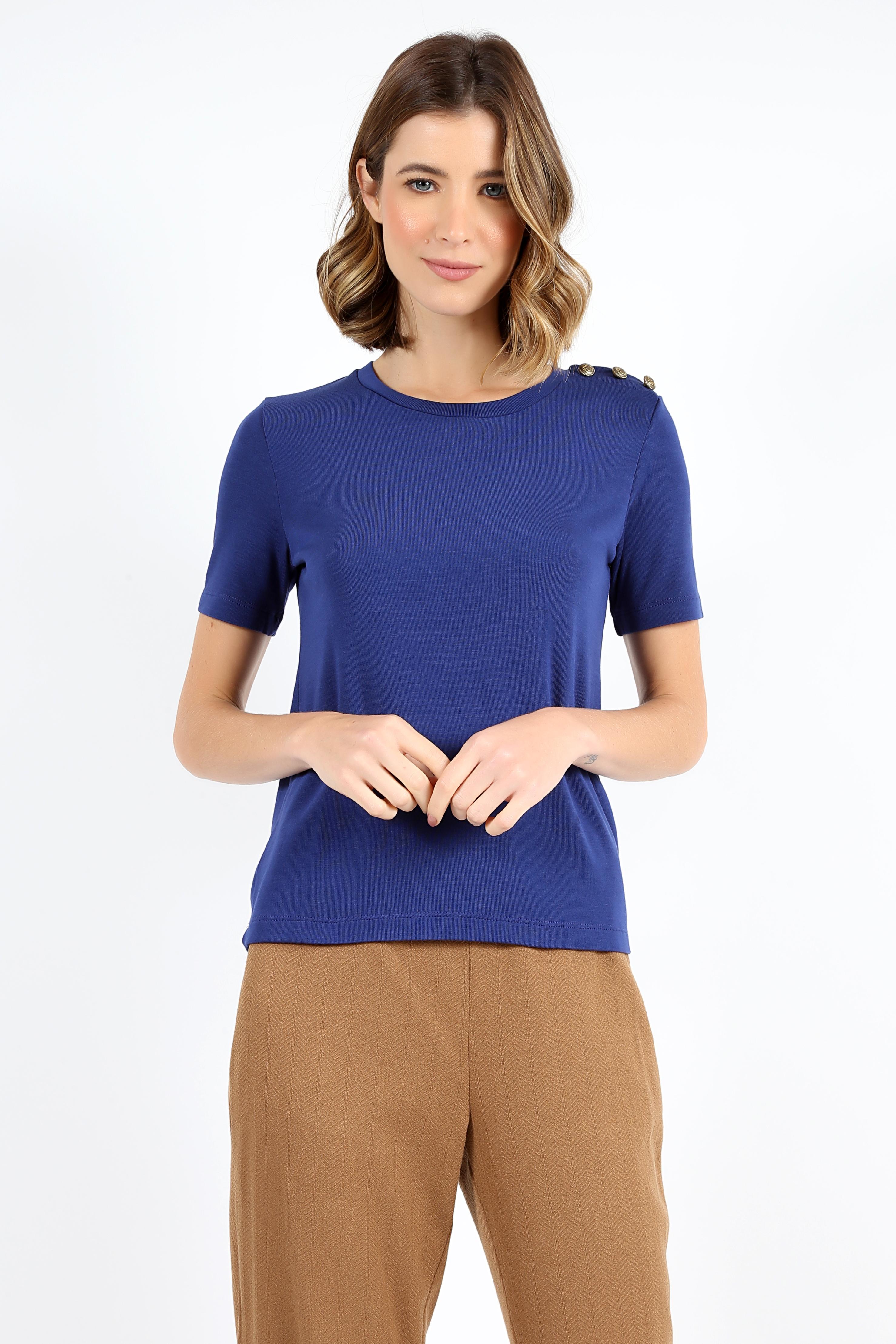 Camisa Tres Botoes Ombro Azul