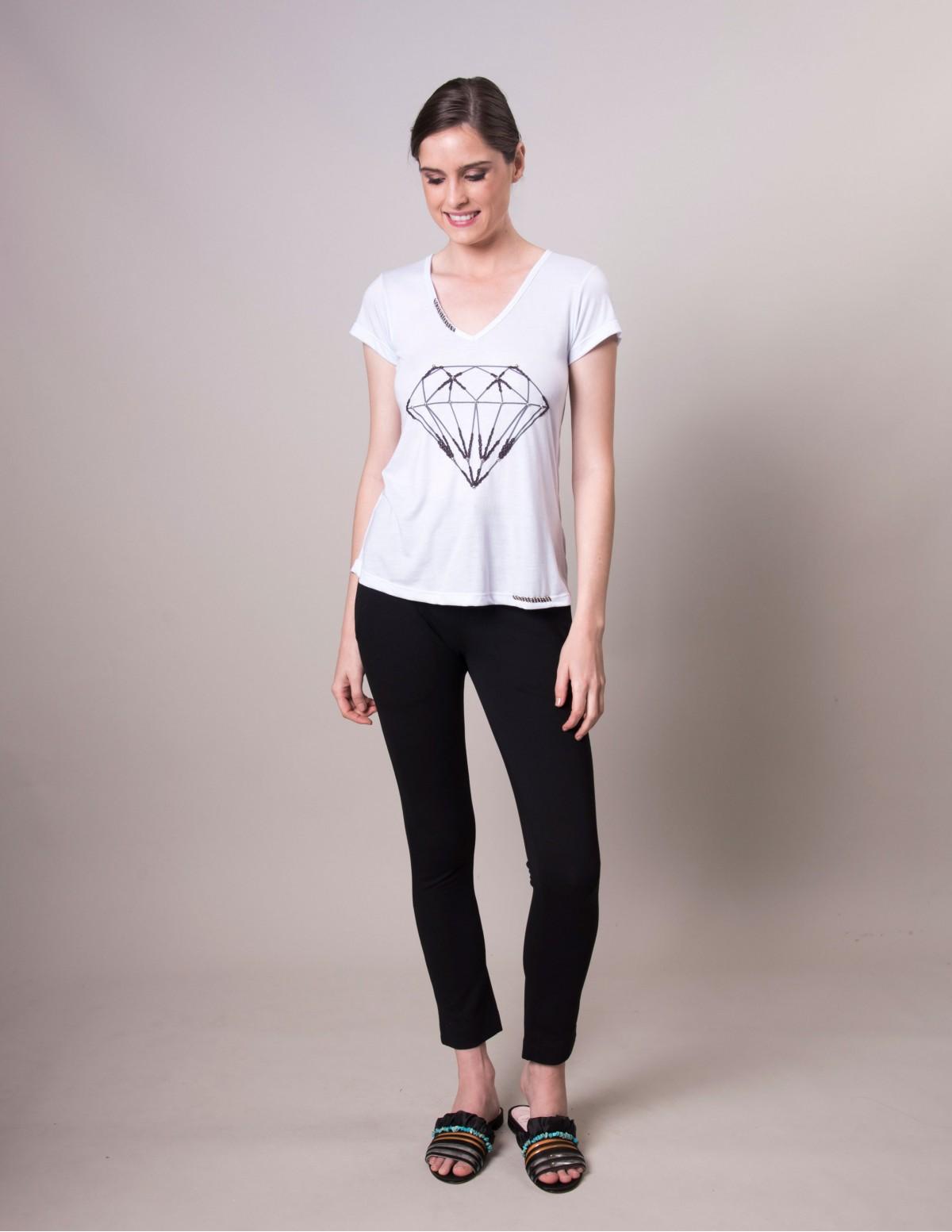 Camiseta Diamante - Branco Azulado Areaoito
