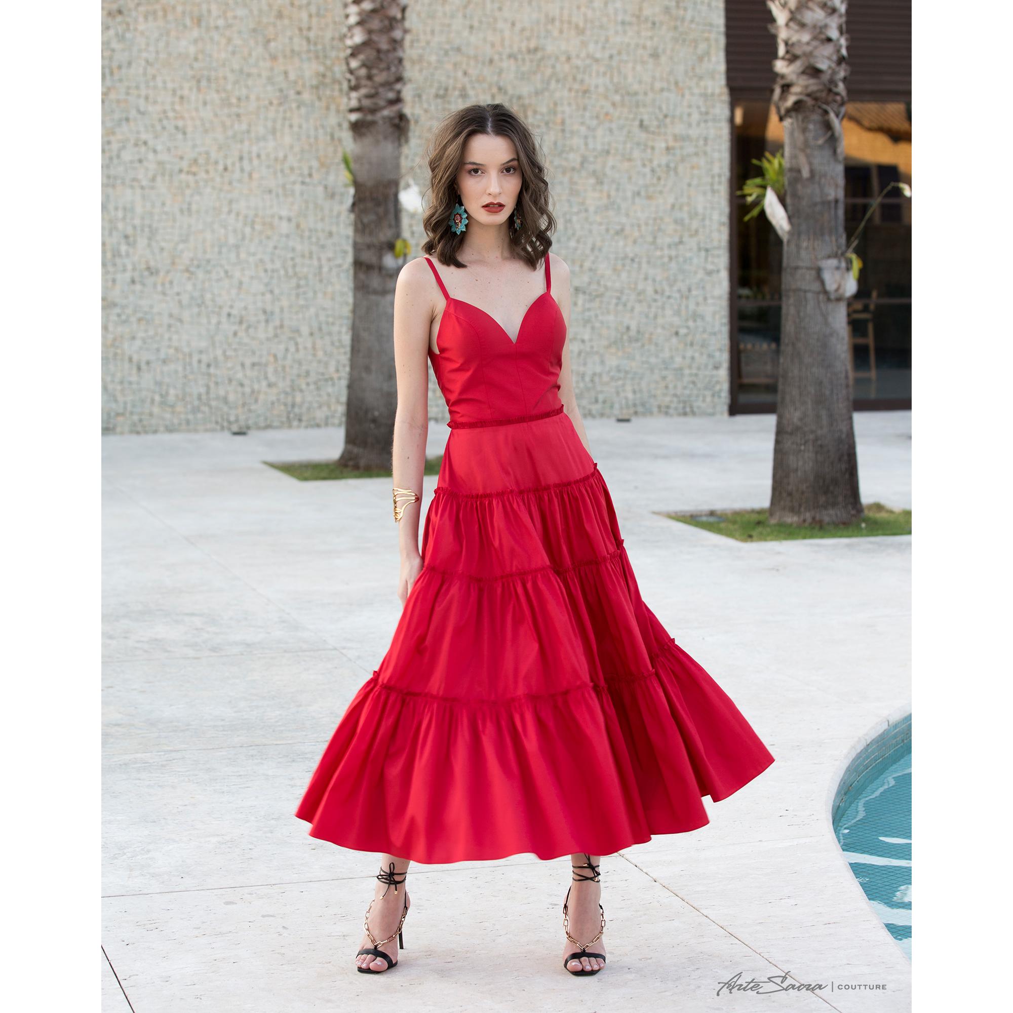 Vestido Midi Tafeta Saia Camadas